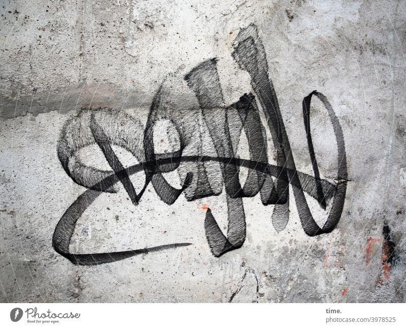 Signatur mauer wand garfitti tag grau schwung logo marke unterschift buchstaben signatur kunst art