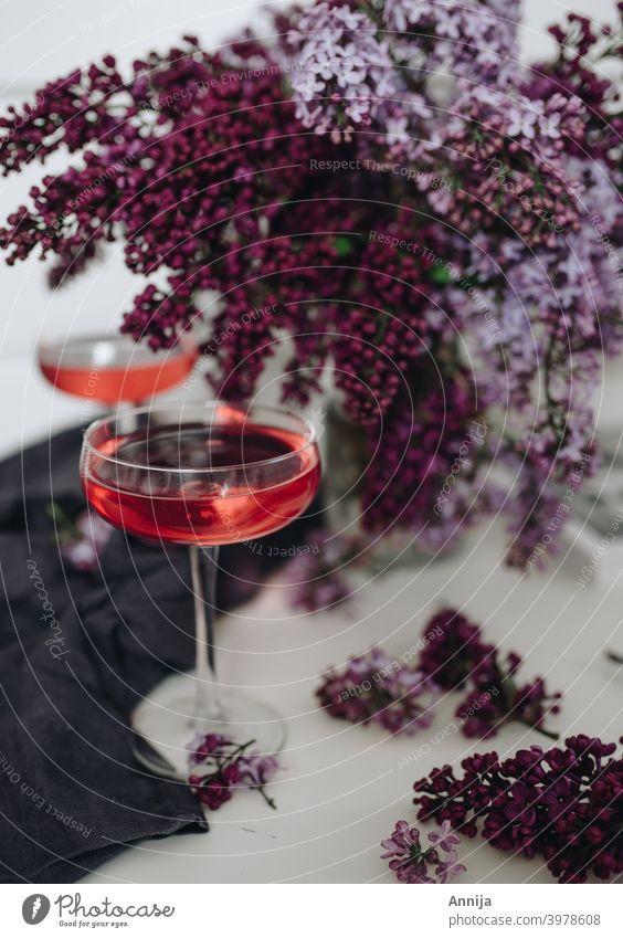 Cocktail mit Flieder Bar Lifestyle Fliederbusch einrichten Stillleben Getränk Glas Alkohol Feste & Feiern Party Innenaufnahme trinken