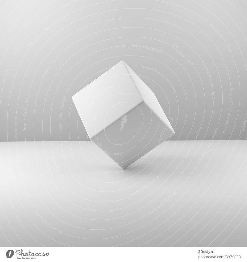 Geometrischer echter Plastikwürfel auf weißem Hintergrund. 3d Illustration Objekt Quadrat blanko Würfel Design Kasten Merchandise Karton wirtschaftlich leer