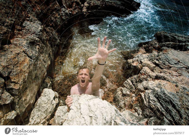 gefährliche brandung Mensch Natur Mann Hand Meer Erwachsene Umwelt Leben Küste Kopf Felsen Körper maskulin Wellen Haut Arme