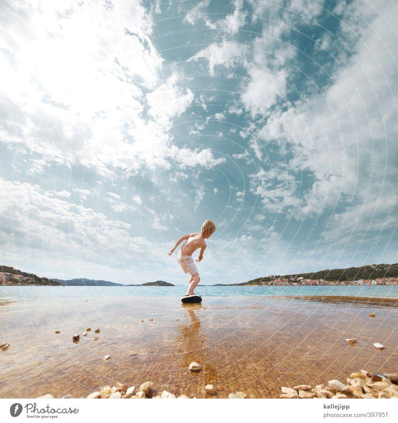 floating stones Freizeit & Hobby Spielen Mensch Kind Junge Leben Körper Haut 1 Umwelt Natur Landschaft Wasser Himmel Wolken Sonne Sommer Klima Wärme Hügel