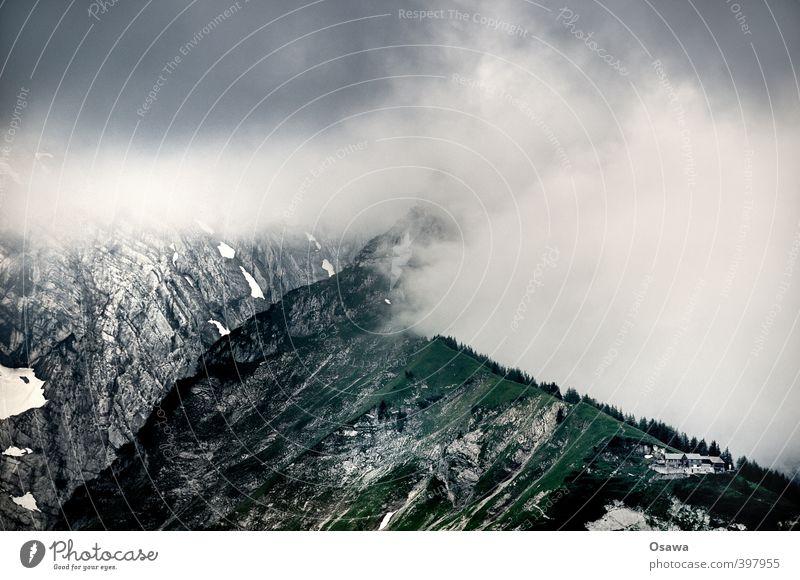 Purtschellerhaus Umwelt Natur Landschaft Urelemente Luft Wasser Himmel Wolken Gewitterwolken Wetter schlechtes Wetter Nebel Regen Alpen Berge u. Gebirge