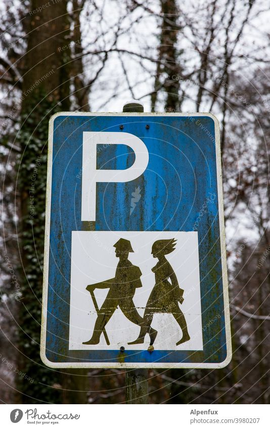 Fahndungsplakat Parkplatzschild Wanderer Ferien & Urlaub & Reisen Natur wandern Schilder & Markierungen Hinweisschild Außenaufnahme Zeichen Tourismus Ausflug