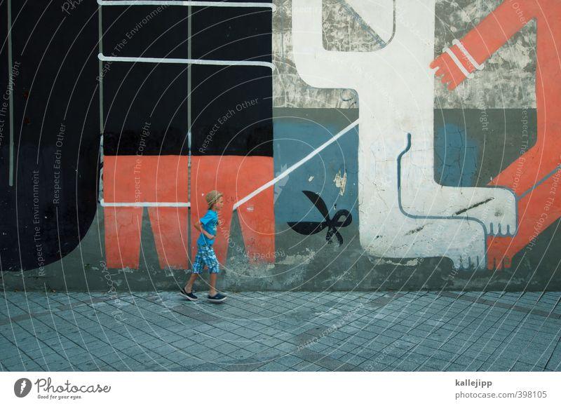 lauf forrest, lauf! Junge 1 Mensch Kunst Kunstwerk Kultur Stadt Mauer Wand Zeichen Graffiti laufen rennen Farbfoto Außenaufnahme Licht Schatten Kontrast