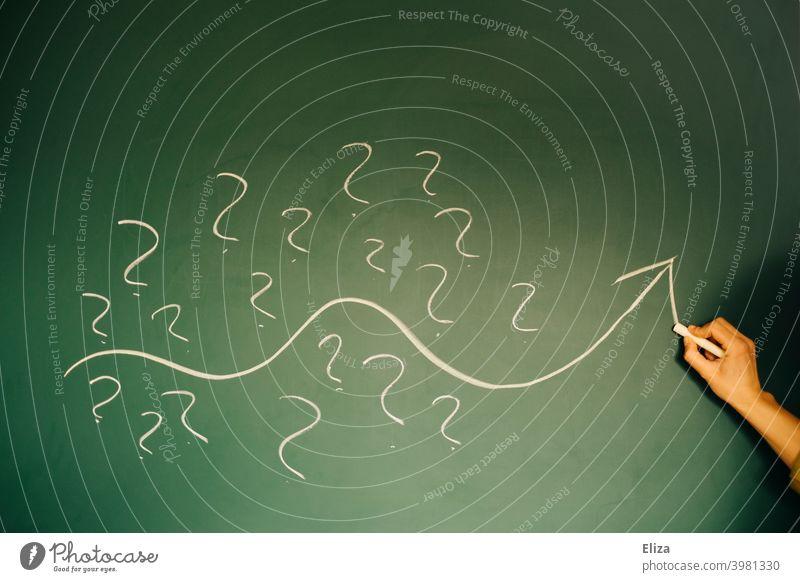Lösungsweg finden: Eine Person malt einen Pfeil, der durch viele Fragezeichen führt Lösungsorientiert Kreide Kreativität Ideen Denken Krisenmanagement Konzept