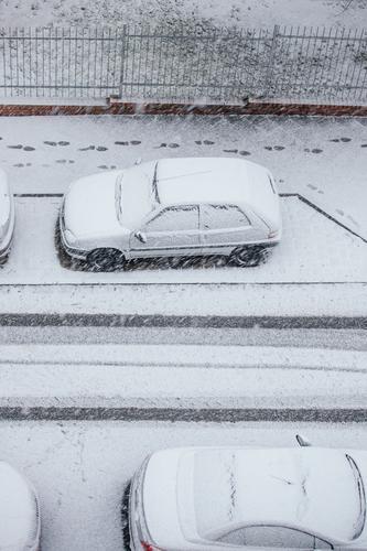 #A0# Wintereinbruch, da freuen sich die Autofahrer! Straße Winterstraße winterlich Wintertag verschneit Kälte Winterstimmung Fußspuren Spuren