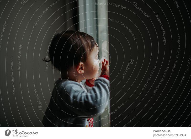 Kleinkind schaut durch das Fenster zu Hause zu Hause bleiben Kind Farbfoto Familie & Verwandtschaft Kindheit Quarantäne heimwärts Kontrast Innenaufnahme Junge