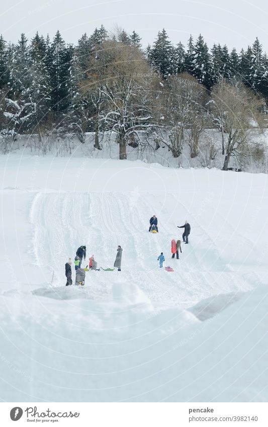 ski & rodel gut! ll Winter Hügel Wald Piste Kinder rodeln Skifahren Wintersport Allgäu Spass freudig Schlitten Schnee Landschaft Berge u. Gebirge weiß kalt