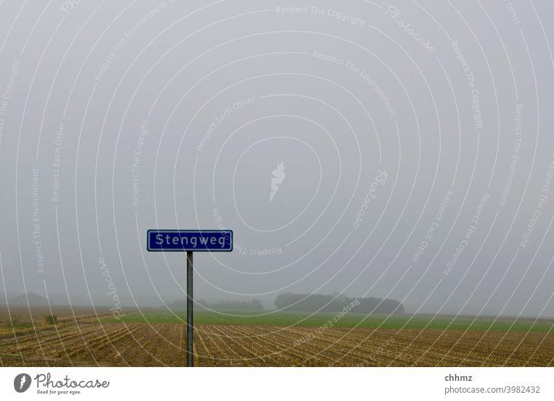 Stengweg Schilder & Markierungen Strassenschild Texel Buchstaben Nebel grau Landschaft Menschenleer flach Ebene Außenaufnahme Horizont Hinweisschild Wort