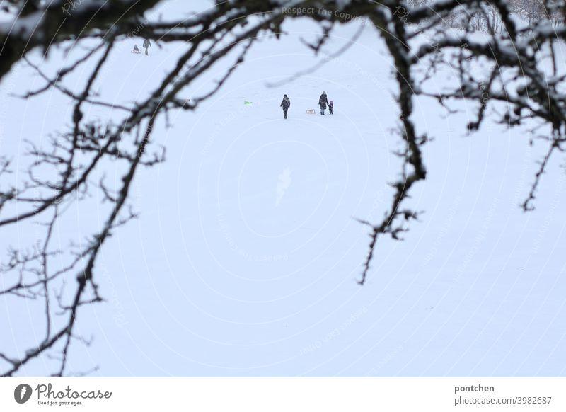Menschen aus der Ferne im Schnee. Mutter mit Kind und Schlitten Winter schnee kind festhalten kinderspiel schlitten Freude Vergnügen weiß Natur Äste zweig
