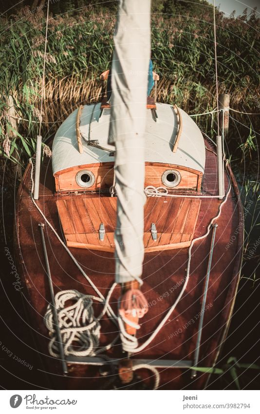 Ein Segelboot / Jollenkreuzer liegt festgemacht am Anlegesteg und schaut ganz erwartungsvoll mit seinen Bullaugen Boot Holz Holzboot Segeln Schifffahrt