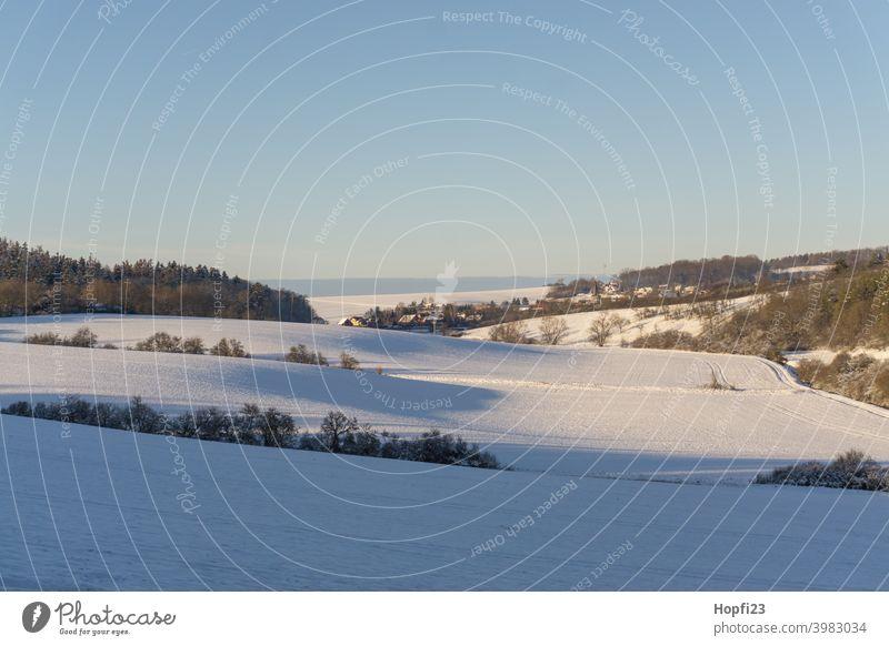 Verschneide Winterlandschaft weiß Landschaft Natur Nahaufnahme ländlich Feld Ackerland Schnee Sonne Sonnenschein Abendsonne kalt Himmel Baum Frost Außenaufnahme