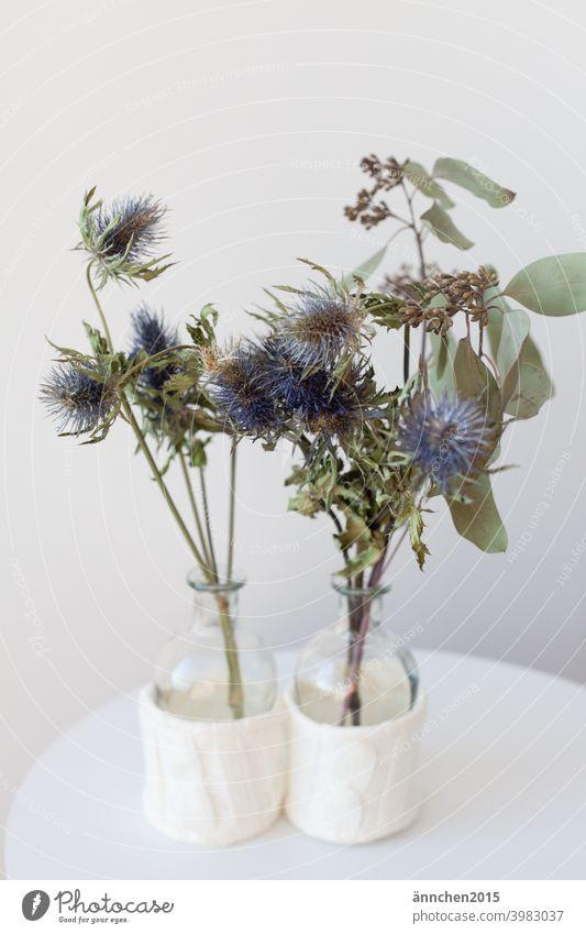 Zwei kleine Glasvasen stehen auf einem kleinen weißen Beistelltisch und sind gefüllt mit getrockneten Zweigen/Blumen Vasen Trockenblumen Distel Eukalyptus