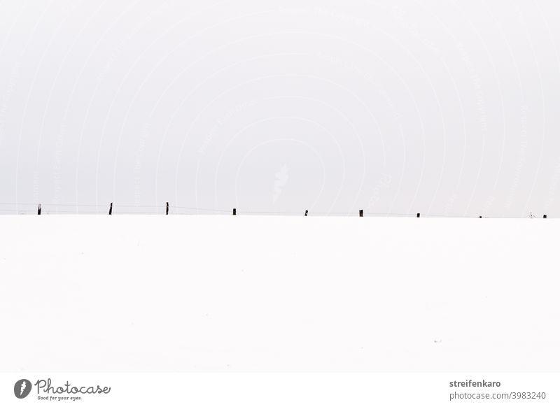 Weidezaun im Schnee, auf das Wesentliche beschränkt Zaun Winter grauer Himmel kalt Frost Menschenleer Natur Außenaufnahme Feld weiß Umwelt Tag Farbfoto gefroren