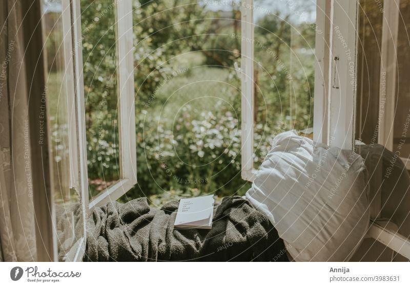Morgenlektüre lesen Buch Fenster Garten Land Wohnen auf dem Land Bauernhof Scheune alt Bildung Literatur Roman Bibliothek lernen