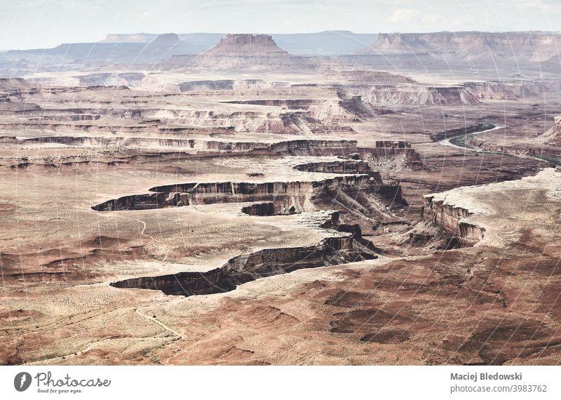 Canyonlands National Park, Utah, USA. wüst Erosion Schlucht Natur Felsen Berge u. Gebirge Landschaft Abenteuer amerika trocknen Klippe malerisch Himmel Wildnis