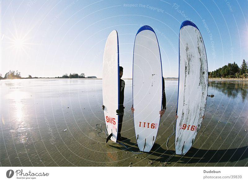 Chesterman's Strand Surfen Surfbrett Tofino Küste Mensch Westküste Pazifik Surfer Wassersport Fischauge Meer Vancouver Island Kanada cold water surfing sun