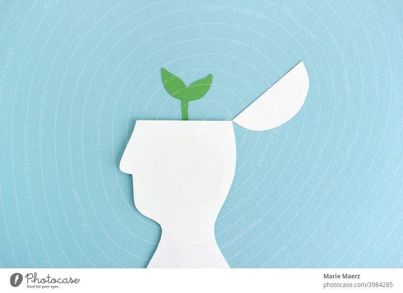 Gedanken wachsen lassen | Pflanze wächst aus Kopf-Silhouette Wachstum Entwicklung Gehirn Wissenschaften Studium Illustration Grafik u. Illustration