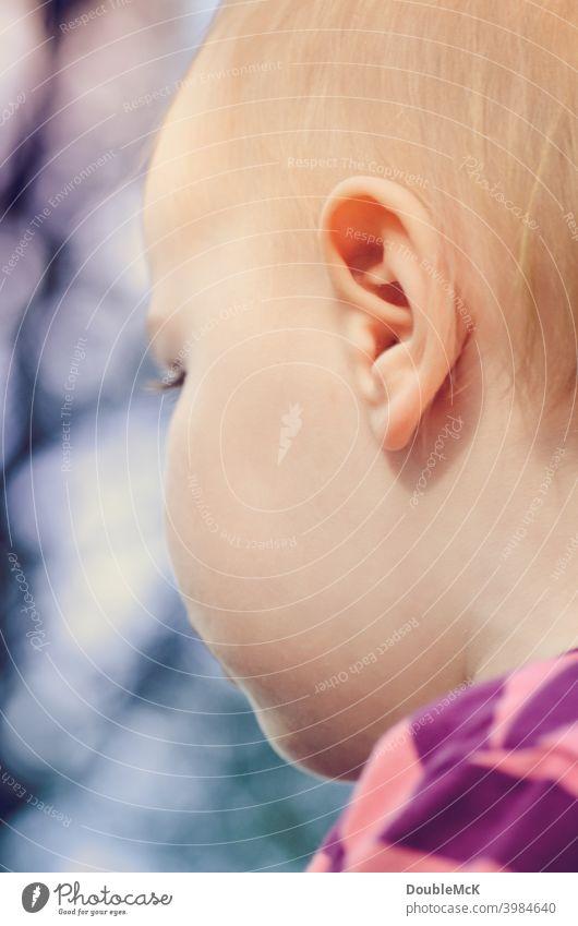 Das seitliche Gesicht eines Kleinkindes Mädchen Kindheit Mensch 1 1-3 Jahre Farbfoto Außenaufnahme Tag Wegsehen Schwache Tiefenschärfe feminin Freizeit & Hobby