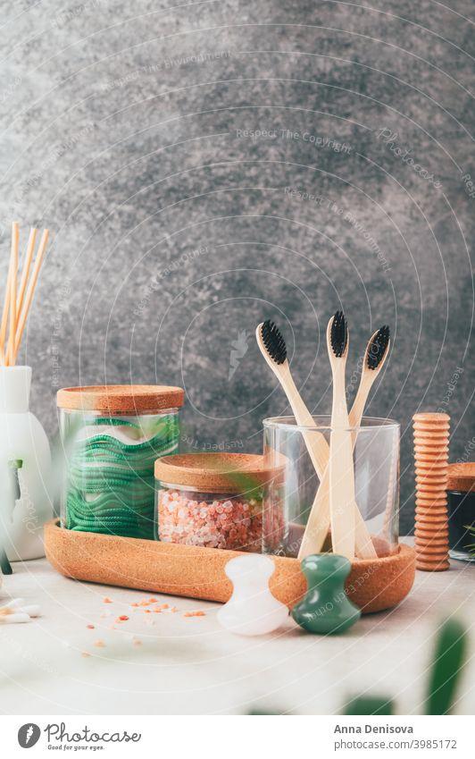 Set mit umweltfreundlichen Badeartikeln Kosmetik organisch keine Verschwendung natürlich Seife Öko Spa Biografie Gesundheit Pflege Hygiene Schönheit Therapie