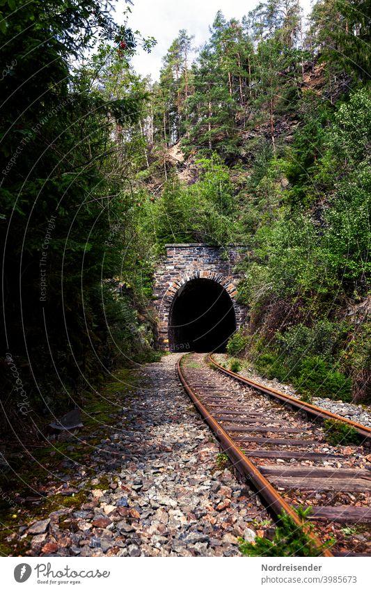 Tunnelportal auf einer stillgelegten Bahnstrecke im Thüringer Wald Schienen Gleis Eisenbahn Stilllegung Eisenbahntunnel Verkehr Infrastruktur Transport
