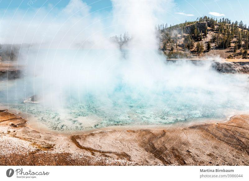 Dampf, der aus dem Turquoise Pool aufsteigt, Yellowstone National Park prismatisch yellowstone türkis Landschaft reisen Natur berühmt Verdunstung heiß