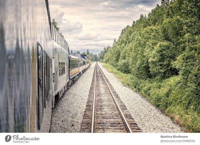 Geradeaus, Zug und Schienen in der Wildnis Alaskas Eisenbahnschiene malerisch weitergeben Denali National Park Landschaft reisen blau im Freien Transport Gipfel
