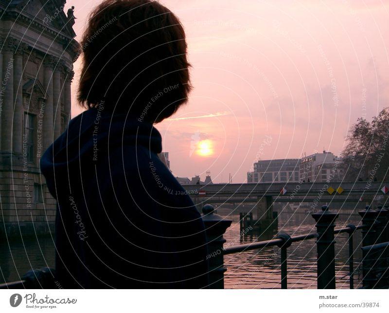 Sehnsucht - Sonne Abend Sonnenuntergang Spree Frau Brücke Abenddämmerung asturia Berlin