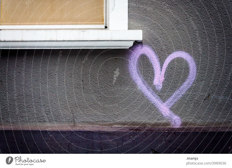 I heart you Herz Wand Liebe Graffiti Romantik Zeichen Fassade Valentinstag grau lila Gefühle Symbole & Metaphern