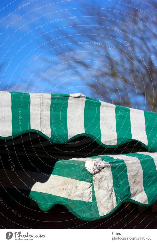 Markttag | Abdeckung dach zeltplane marktstand himmel baum winter Schönes Wetter Sonnenlicht schatten sicherheit schutz regenschutz übereinander zwei überlappen