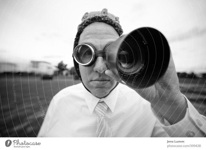 The Watchdog Mensch Mann weiß schwarz Erwachsene Business Arbeit & Erwerbstätigkeit maskulin beobachten Brille Neugier Sicherheit entdecken Medien Mütze Hemd