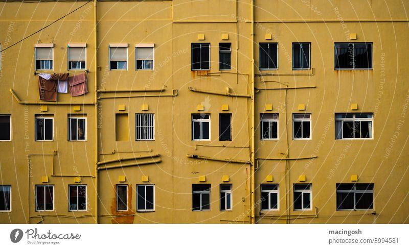 Ausschnitt aus der Fassade eines Wohnblocks ocker ockerfarben curry curryfarben dunkelgelb fassade fassadendetail wohnblock ghetto häuserwand architektur urban