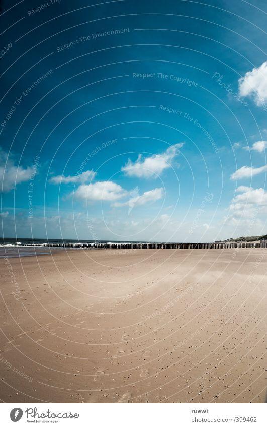 Sandstrand. Feierabend. Himmel Natur Ferien & Urlaub & Reisen blau Wasser Sommer Sonne Meer Einsamkeit Landschaft Wolken Strand Ferne Frühling Küste