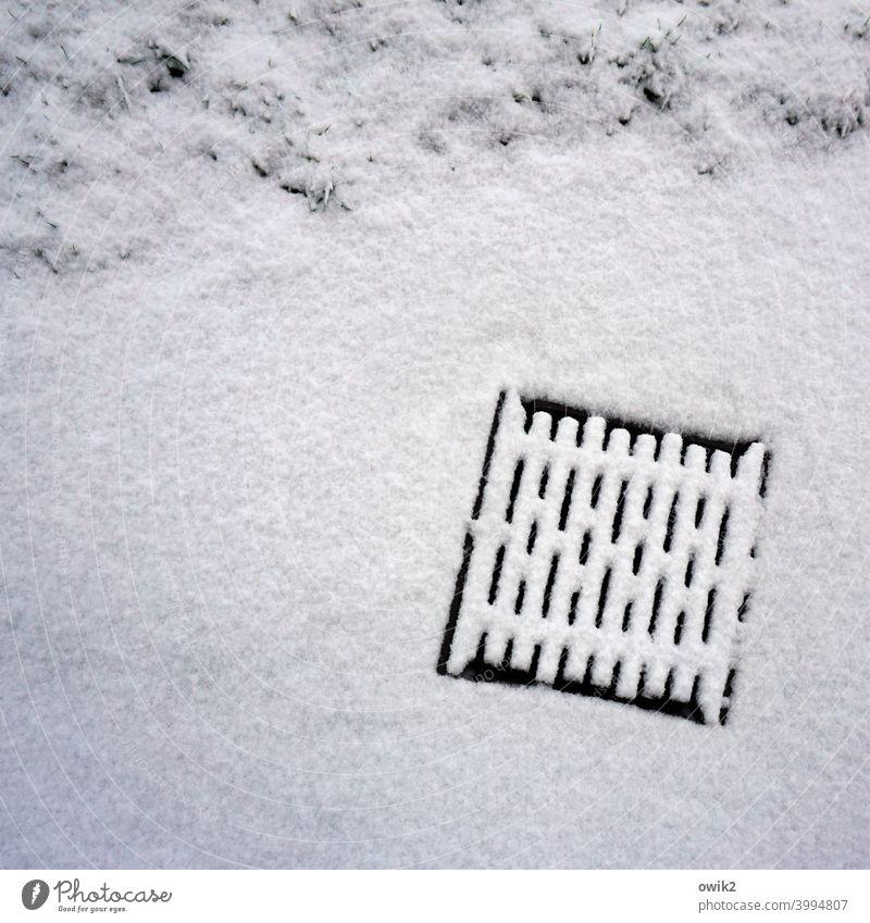 Schneegully Gullydeckel schnee Schneedecke Winter kale weiß kalt Menschenleer Außenaufnahme Eis Natur Schneelandschaft Farbfoto Frost Straßenrand Gitter