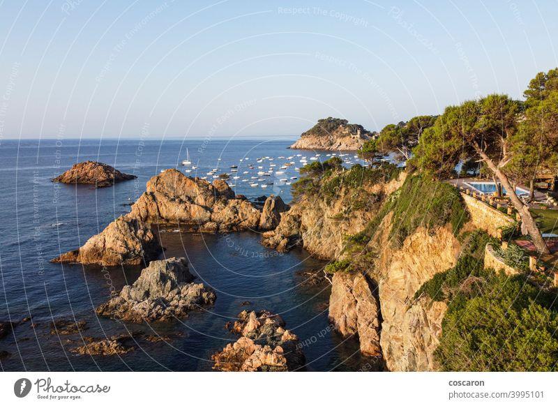 Landschaft am Ufer der Costa Brava, Katalonien, Spanien Antenne Bucht Strand schön Schönheit brava Großstadt Küste Küstenlinie Textfreiraum costa Europa Girona