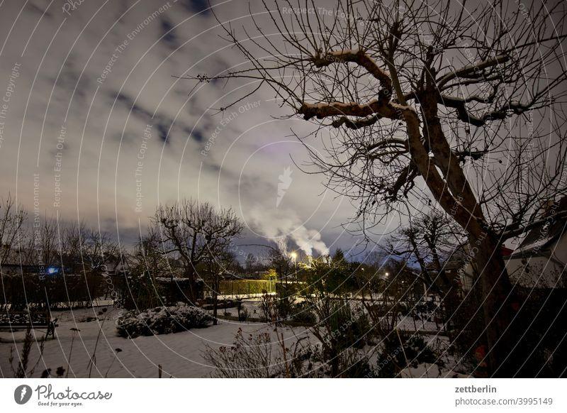 Garten im Winter abend ast baum dunkel dämmerung erholung ferien garten himmel kleingarten kleingartenkolonie menschenleer nacht natur pflanze ruhe schnee