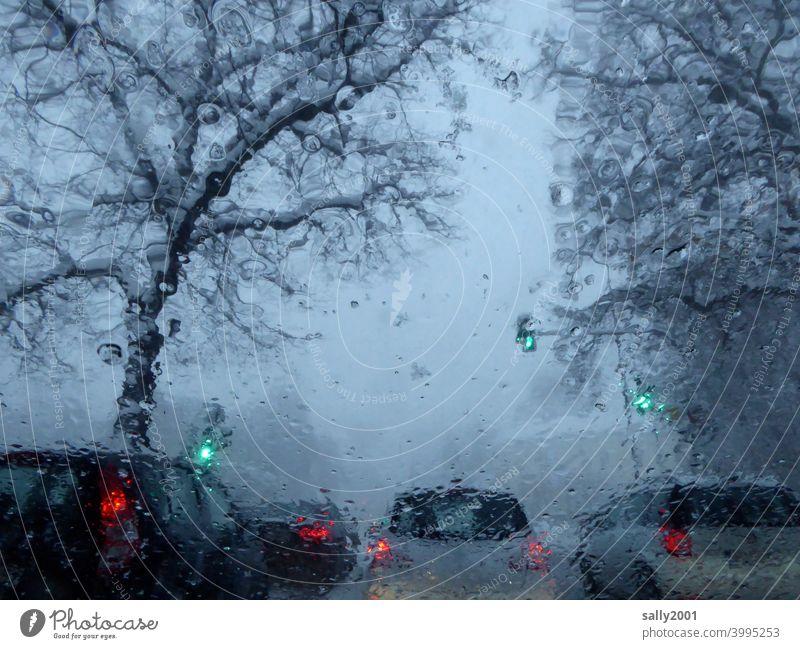 Wintereinbruch... Verkehr Auto Straßenverkehr Schnee nass Ampel grün Wetter schlechtes Wetter Sichtbehinderung Autofahren Verkehrswege Wege & Pfade Stadt