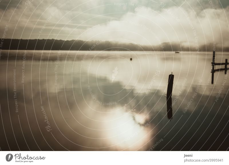 Nebel über dem See am frühen Morgen | Kleines Fischerboot gleitet durch den Nebelmorgen Wasser Nebelschleier nebelig ruhig Natur Einsam Stimmung Landschaft