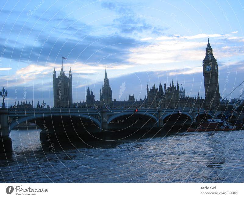 Themse London Big Ben Abend Sonnenuntergang England Europa Abenddämmerung Brücke Bridge