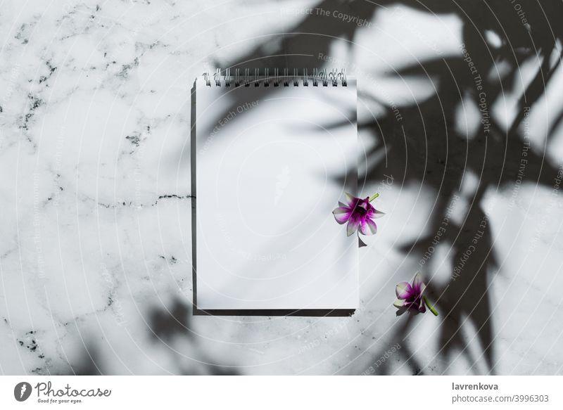 Flatlay von Notizbuch mit leerer Seite und Orchidee Blumen auf Marmor Notebook Ansicht von oben Tagebuch Murmel Artikel Arbeitsplatz Attrappe Tischplatte