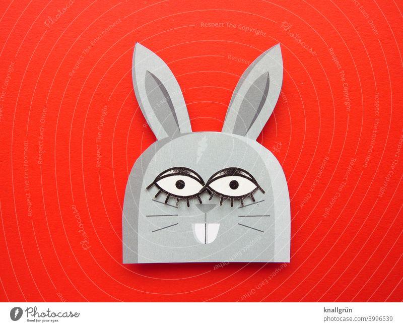 Hasi Hase & Kaninchen Nagetiere Ostern Osterhase lustig Tier große Augen Hasenzähne DIY Basteln Blick Farbfoto niedlich witzig Papier Hasenohren Menschenleer