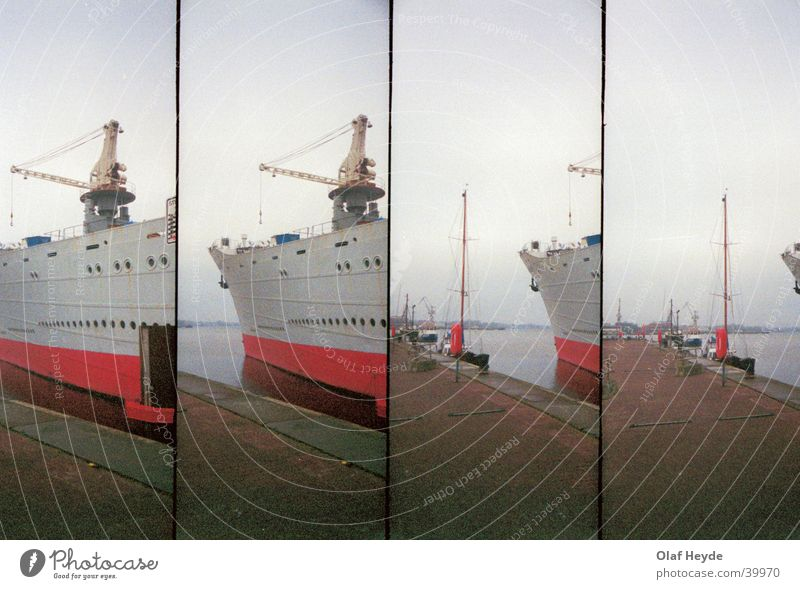 Georg Büchner Bug Wasserfahrzeug Schiffsbug Kran Anlegestelle Rostock Schifffahrt Hafen Lomografie