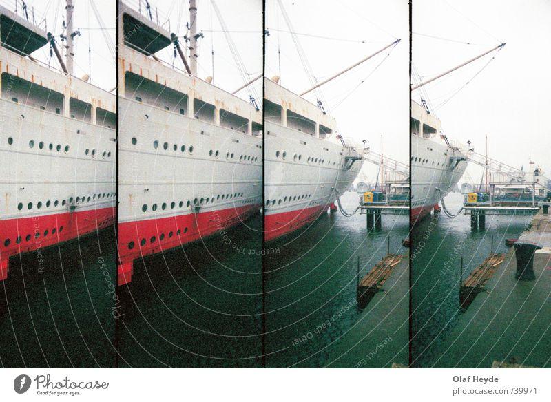 Georg Büchner Heck Wasserfahrzeug Kran Anlegestelle Rostock Schifffahrt Hafen Lomografie