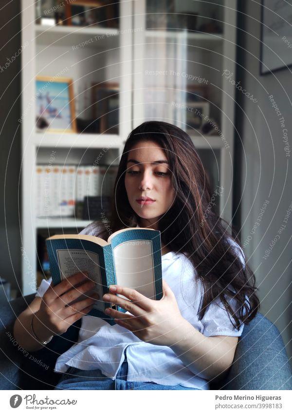 Frau lesend in einem Sessel heimwärts Freizeit Sofa Sitzen bequem Wohnzimmer Kaukasier Lifestyle brünett im Innenbereich häusliches Leben Freizeitkleidung Glück