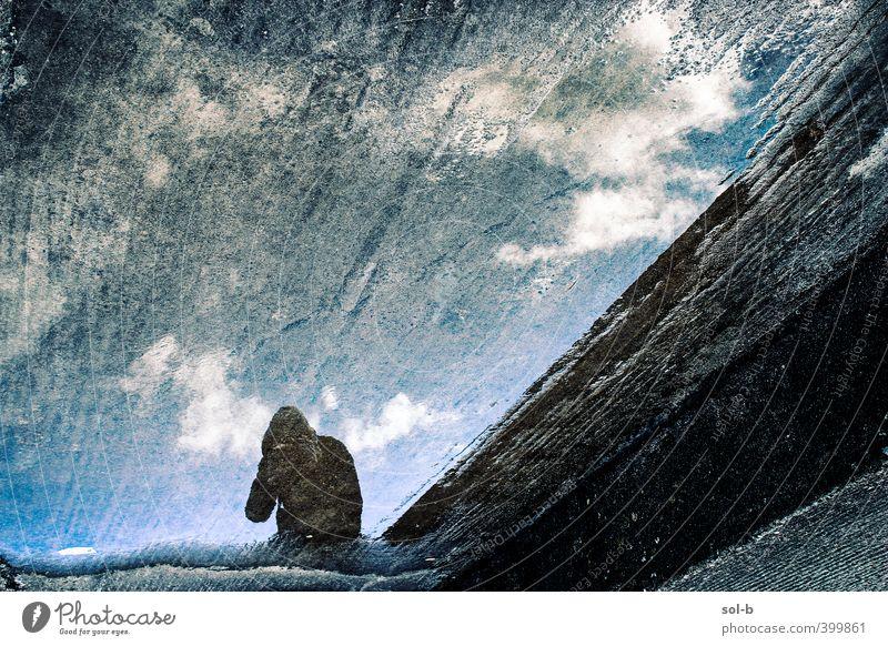 Mensch Himmel Jugendliche blau Stadt Wasser Wolken Erwachsene Junger Mann dunkel 18-30 Jahre träumen wild Beton verrückt Abenteuer
