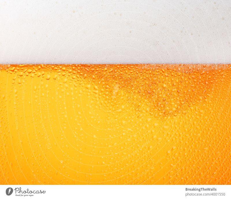 Nahaufnahme des Hintergrunds von Bier mit Blasen im Glas Bierschaum Gießen frostig frisch Lagerbier Tropfen Seite Ansicht tiefstehend Winkel Textur Becher groß