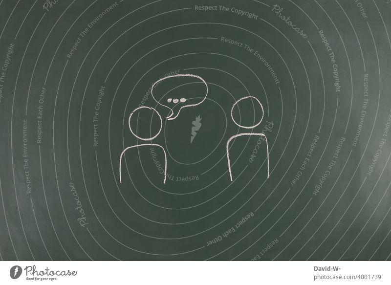 miteinder kommunizieren Kommunizieren menschen reden unterhalten sprechen austauschen soziale Kontakte gespräch strichmännchen Zeichnung Tafel Kreide