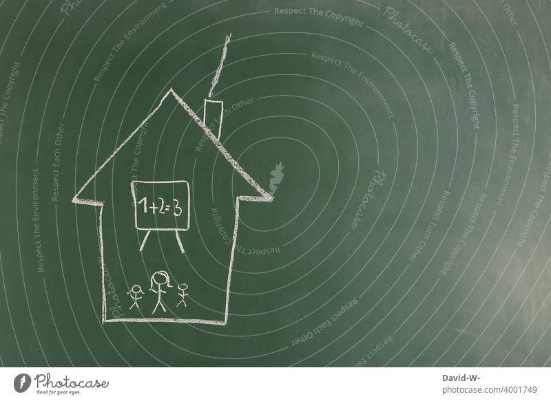 corona - homeschooling Homeschooling coronavirus Quarantäne Bildung Schule Kinder pandemie Unterricht zu Hause Entwicklung Corona lernen Tafel Kreide Familie