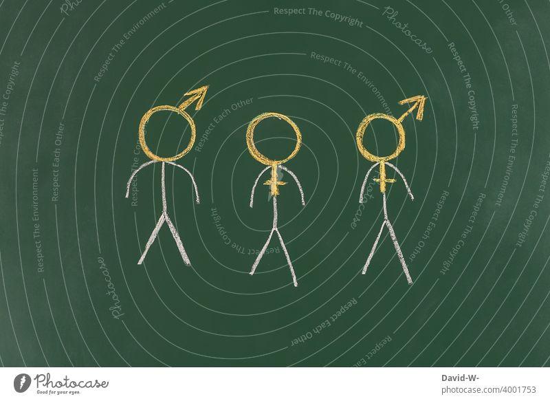 Transgender - Geschlecht Körper Mann Frau Sexualität Mensch Homosexualität bisexuell Freiheit Gleichstellung Strichmännchen Kreide Tafel transe symbol