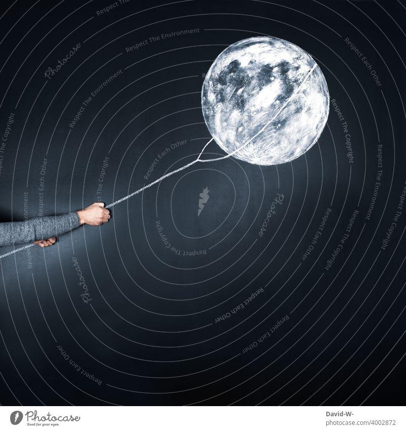 den Mond vom Himmel holen Liebesbeweis Seil Liebesbekundung Valentinstag Liebeserklärung Gefühle Romantik Verliebtheit Kreide Tafel Vollmond